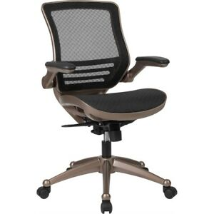 Mid back Transparent Black Mesh Executive Swivel Chair With Melrose Gold Fram