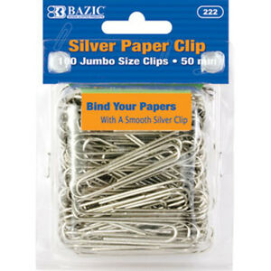 Bazic Jumbo 50mm Silver Paper Clip 100 pack