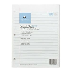 Filler Paper College Ruled 100 Sheets Case Pack 10