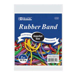 Bazic 2 Oz 56 70 G Assorted Sizes And Colors Rubber Bands Pack Of 36