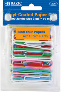 Bazic Jumbo 50mm Color Paper Clips 100 pack Case Pack 24