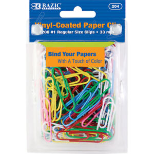 Bazic No 1 Regular 33mm Color Paper Clips 200 pack