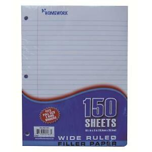 Filler Paper Wide Ruled 150 Sheets Case Pack 24
