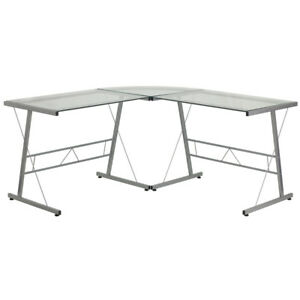 Glass L shape Computer Desk With Silver Frame Finish