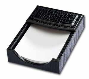 A2209 black crocodile embossed leather 4 x 6 memo holder