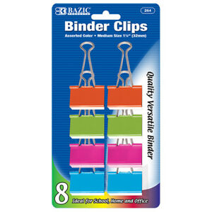 Bazic Medium 1 1 4 32mm Assorted Color Binder Clip 8 pack
