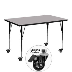 Mobile 24 w X 48 l Rectangular Grey Thermal Laminate Activity Table Stand