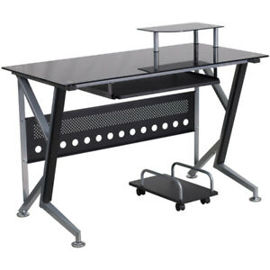 Black Glass Computer Desk With Pull out Keyboard Tray And Cpu Cart