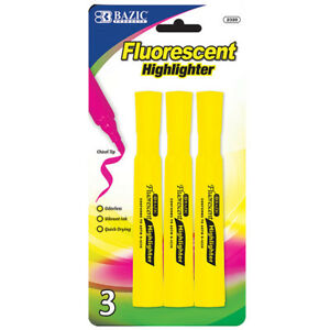 Bazic Yellow Desk Style Fluorescent Highlighters 3 pack