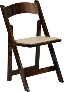 Series Fruitwood Wood Folding Chair With Vinyl Padded Seat