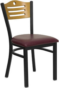 Series Black Slat Back Metal Restaurant Chair Natural Wood Back Burgundy V