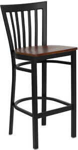 Series Black School House Back Metal Restaurant Barstool Cherry Wood Seat