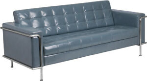 Lesley Series Contemporary Gray Leather Sofa With Encasing Frame