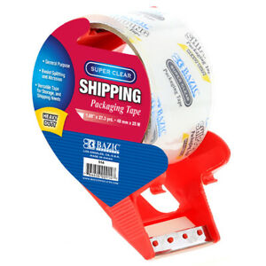 Bazic 1 88 Inch X 27 3 Yards Super Clear Heavy Duty Packing Tape With Dispens
