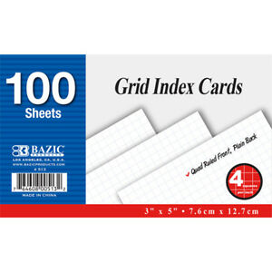 Bazic 100 Ct 3 Inch X 5 Inch Quad Ruled 4 1 Inch White Index Card Pack Of 36