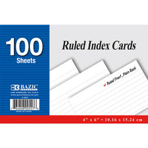 Bazic 100 Ct 4 Inch X 6 Inch Ruled White Index Card Pack Of 24