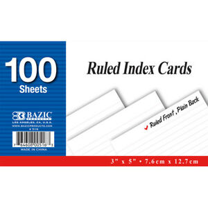Bazic 100 Ct 3 Inch X 5 Inch Ruled White Index Card Pack Of 36