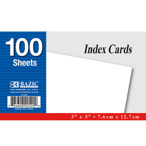 Bazic 100 Ct 3 Inch X 5 Inch Unruled White Index Card Pack Of 36