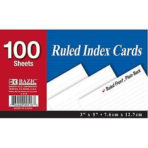 Bazic 100 Count 3 X 5 Ruled White Index Card Case Pack 36
