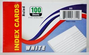 Ruled Index Cards White Case Pack 40