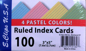 Index Cards Pastel Colors 3 x5 100 Ct Case Pack 60