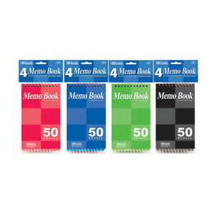 Bazic 50 Ct 3 X 5 Top Bound Spiral Memo Books 4 pack
