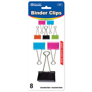 Bazic Assorted Size Color Binder Clip 8 pack