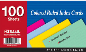 Bazic 100 Count 3 X 5 Ruled Colored Index Card Case Pack 36