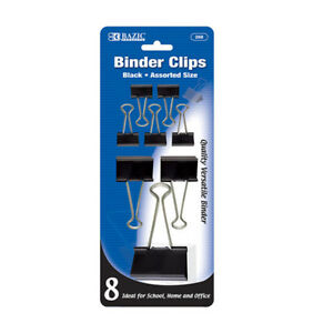 Bazic Assorted Size Black Binder Clip 8 pack