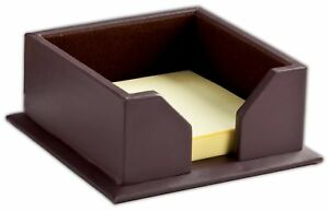A3475 chocolate brown leather 3 x 3 sticky note holder