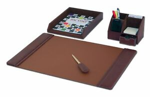 D3005 mocha leather 4 piece desk set