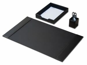 D1437 black leather 3 piece econo line desk set