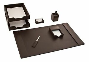 D3603 brown leather 8 piece econo line desk set