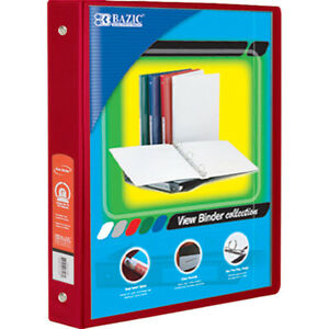 Bazic 1 5 Inch Red 3 ring View Binder W 2 pockets Pack Of 12