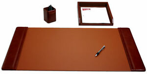 D3037 mocha leather 3 piece desk set