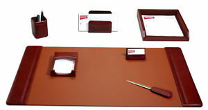 D3004 mocha leather 7 piece desk set