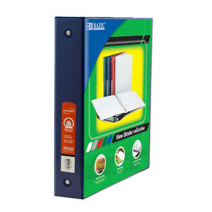 Bazic 1 5 Inch Blue 3 ring View Binder W 2 pockets Pack Of 12