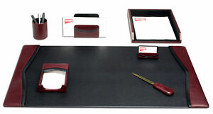 D7004 burgundy contemporary leather 7 piece desk set
