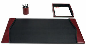 D7037 burgundy contemporary leather 3 piece desk set