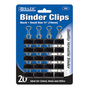 Bazic Small 3 4 19mm Black Binder Clip 20 pack