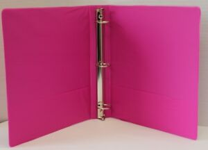 1 5 Basic 3 ring Binder W Two Inside Pockets Fuchsia Case Pack 12