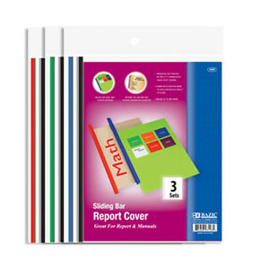 Bazic Clear Front Report Covers W Sliding Bar 3 pack