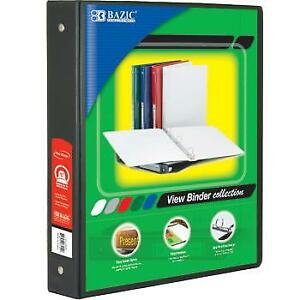 Bazic 1 5 Black 3 ring View Binder W 2 pockets Case Pack 12