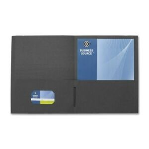 Business Source 2 pocket Folders Dblpckt 125 Sh Cap 11 x8 1 2 25 bx Bk