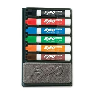 Sanford Ink Corporation Expo 2 Dry erase Markers W eraser Chisel Point 6 As