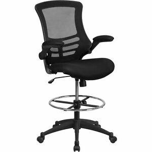 Mid back Black Mesh Drafting Chair With Adjustable Foot Ring And Flip up Arms