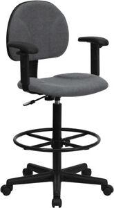 Gray Fabric Drafting Chair With Adjustable Arms cylinders 22 5 27 h Or 2