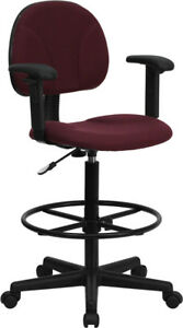 Burgundy Fabric Drafting Chair With Adjustable Arms cylinders 22 5 27 h