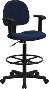 Navy Blue Patterned Fabric Drafting Chair With Adjustable Arms cylinders 22