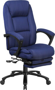 High Back Navy Fabric Executive Reclining Swivel Office Chair With Comfort Co